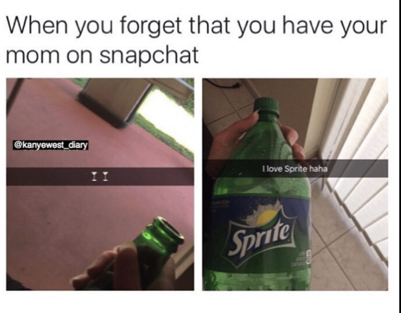 snapchat meme of looking like you are drinking but then swapping it out for sprite