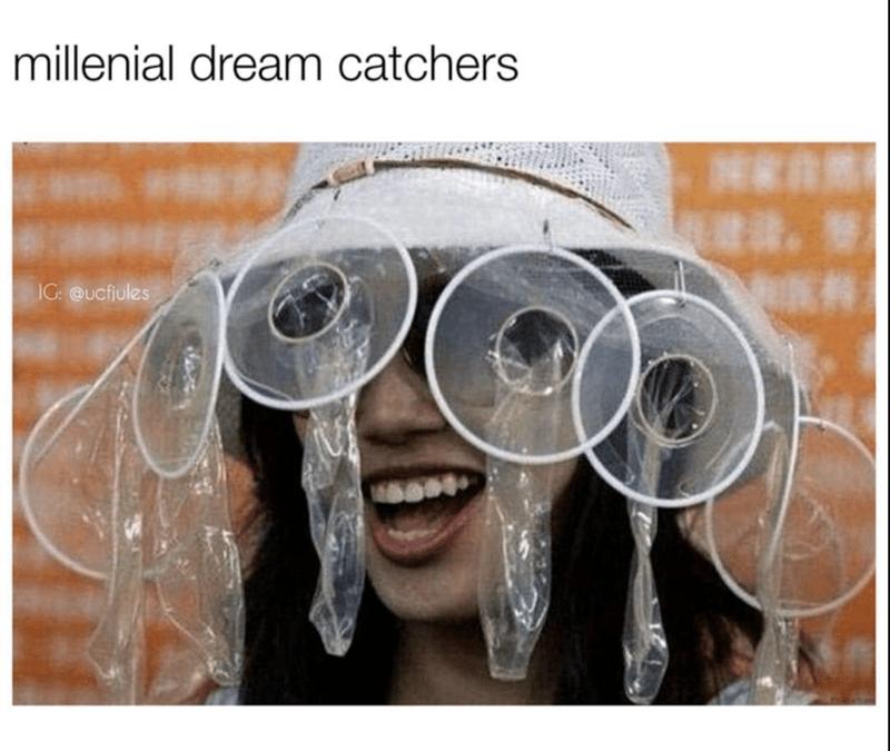 meme of a millenial dream catcher hat which looks like female condoms
