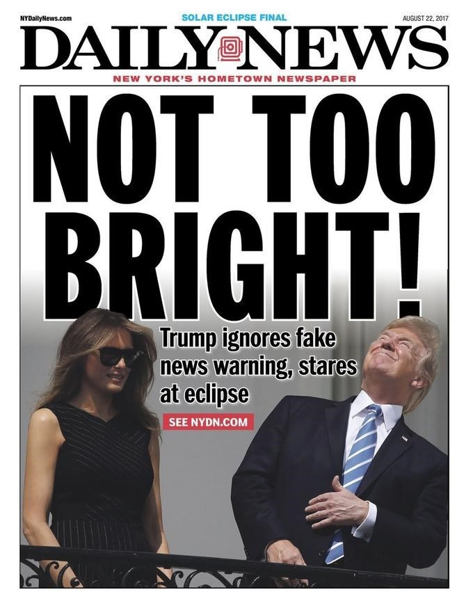 Trump meme of the Daily News cover after the eclipse episode