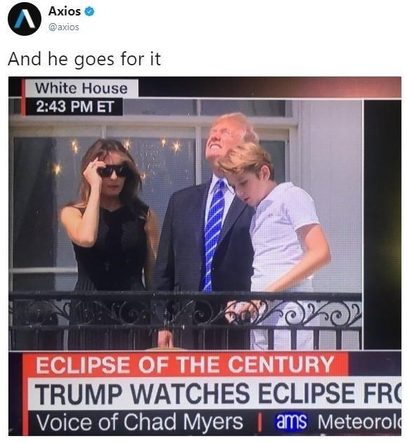 Tweet meme of trump again looking at the sun during a solar eclipse