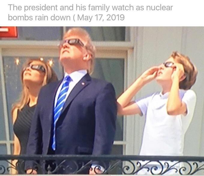 Trump eclipse meme while wearing glasses joked as them enjoying nuclear bombs raining down