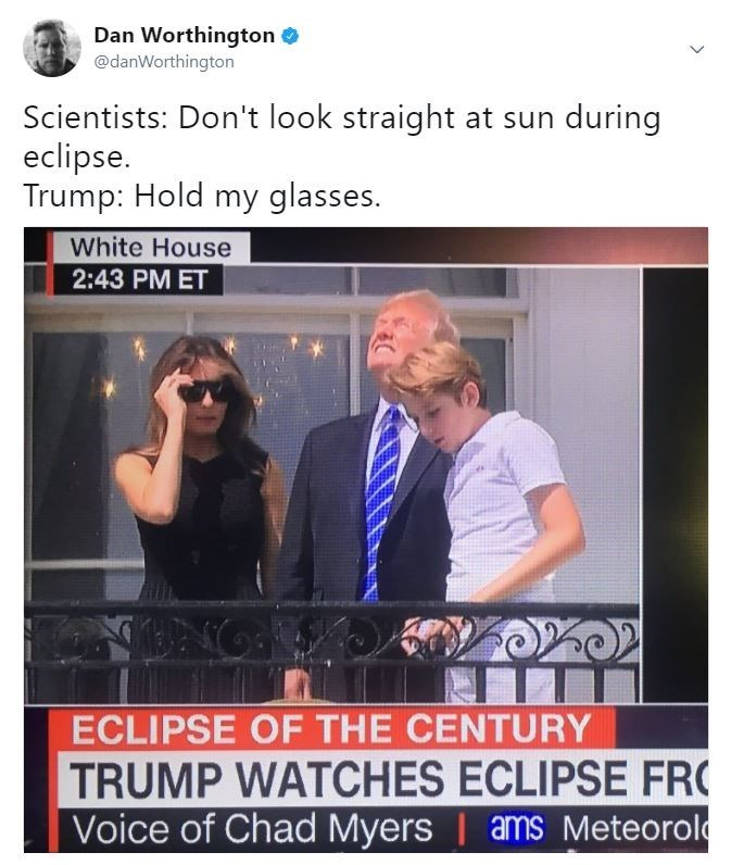 trump staring at the sun meme about him ignoring norla