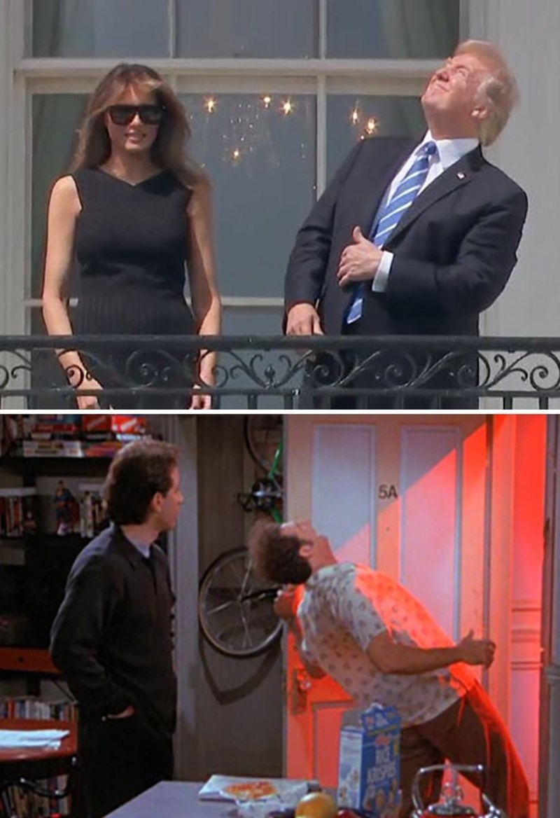 meme of trump looking at the solar eclipse next to similar shot of Kramer from Seinfeld