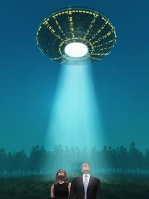 Trump Meme of UFO coming to pick up Donald and Melania