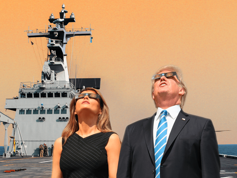 Photoshop meme of trump and wife looking at the solar eclipse placed aboard a military boat