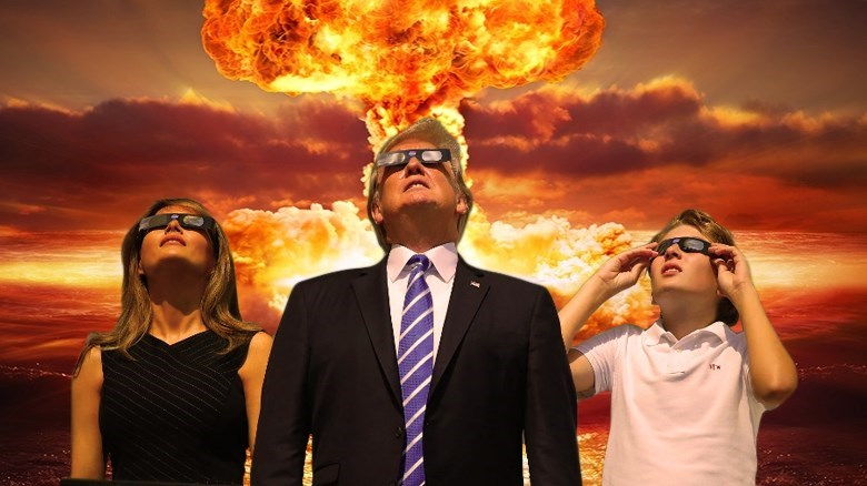 Nuclear bombs photoshop trump meme of first family checking out the solar eclipse with glasses on