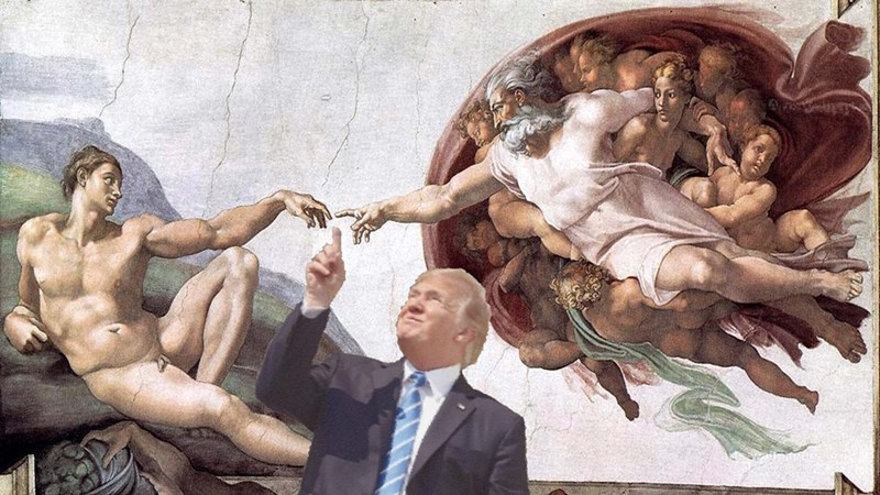 meme of trump pointing at the solar eclipse photoshopped as the ceiling of the sistine chapel