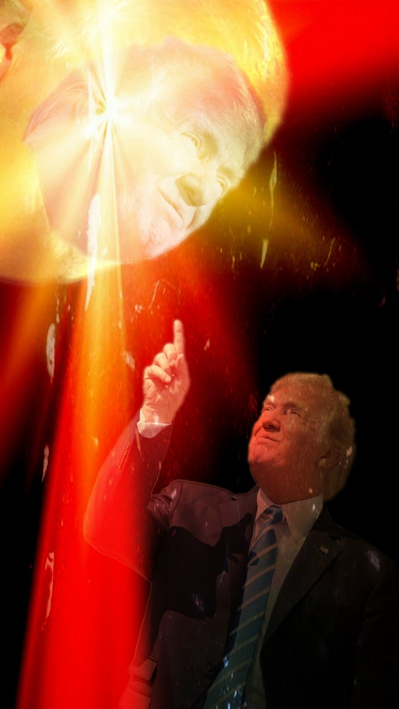 Dank trump meme of pointing at the solar eclipse with no glasses as he himself eclipses the sun