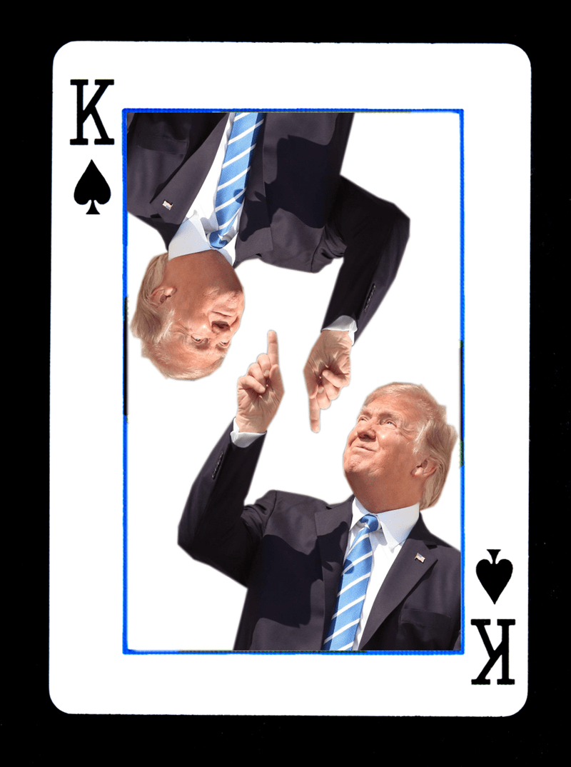 Trump card king of spades of donald trump pointing and looking at the solar eclipse