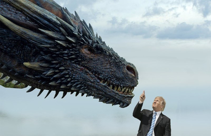 Solar eclipse trump meme with photoshop of a Game Of Thrones dragon