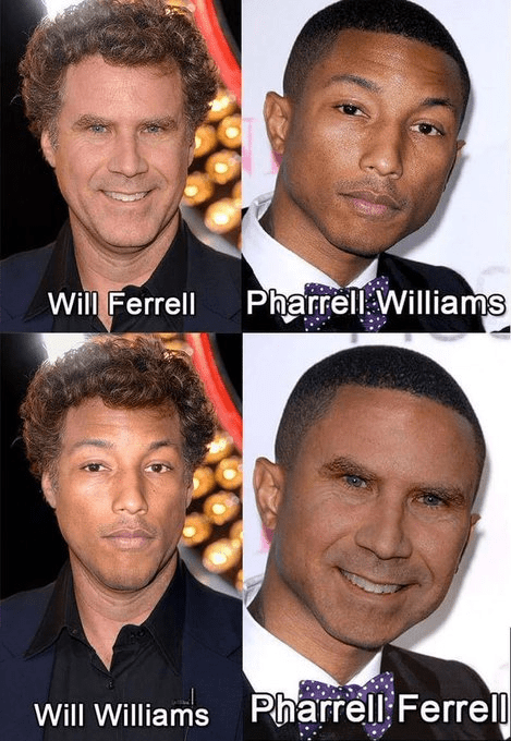Funny photoshop meme combining Pharrell Williams with Will FErrell.