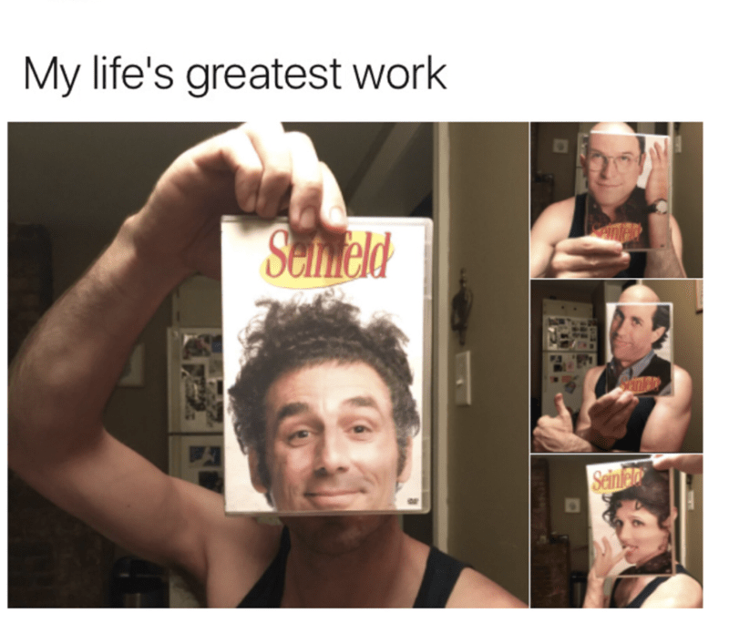 funny meme of guy taking pics with Seinfeld DVD boxes