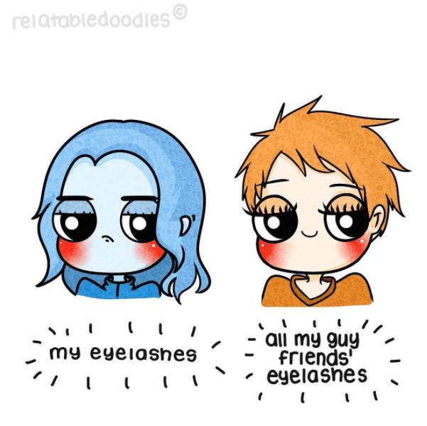Cartoon - relatabledoodles D' ai my guy friends eyelashes my eyeiashes