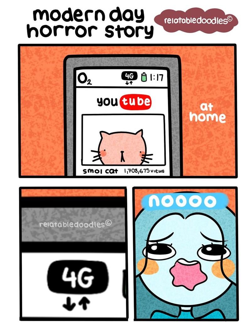 Cartoon - modern day horror story relatabledoodles 4G 1:17 O2 you tu be at home smoi cat 708,675views nO000 reiatabledoodles 4G