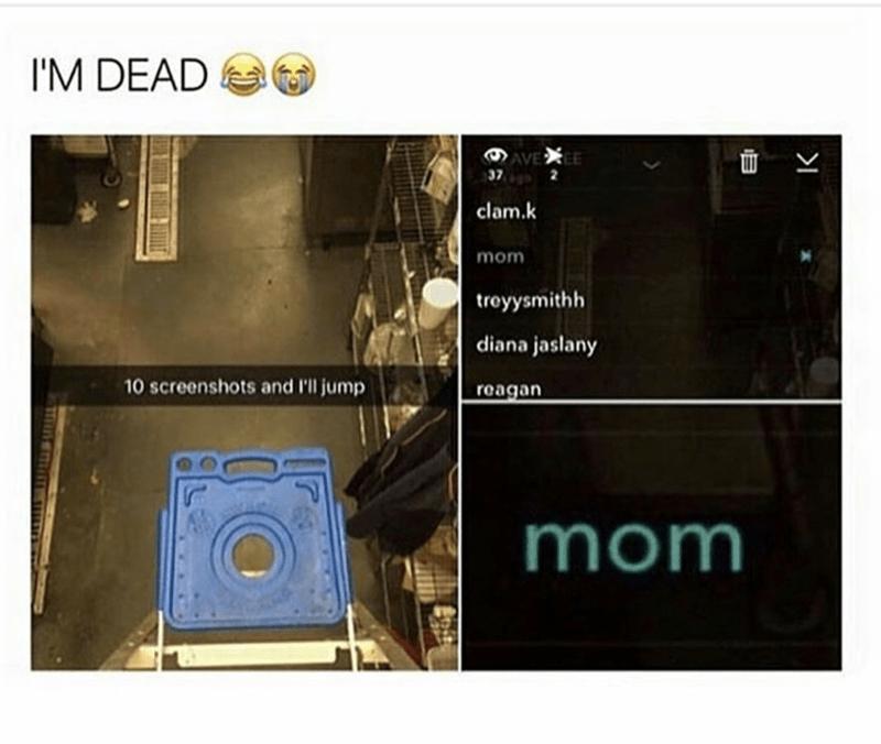 Text - I'M DEAD AVE EE 37 clam.k mom troyysmithh diana jaslany 10 screenshots and I'll jump reagan mom