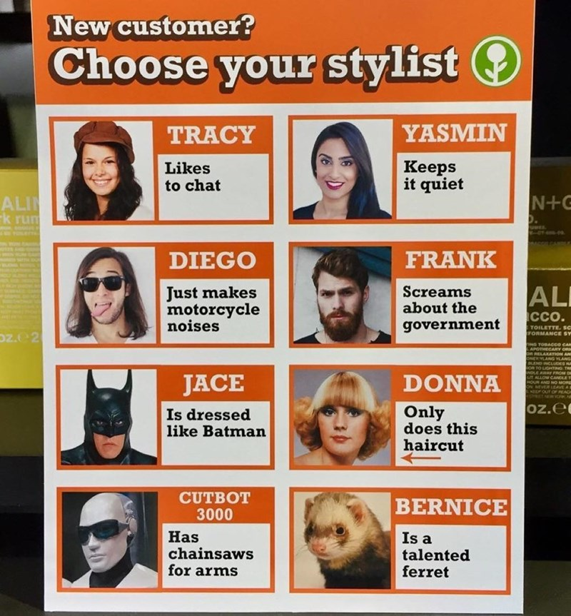 Funny meme about choosing a hair stylist.
