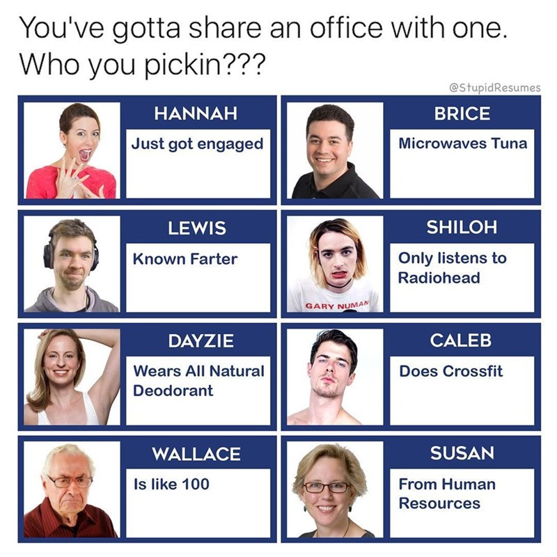 Funny meme about all the terrible people that share an office.