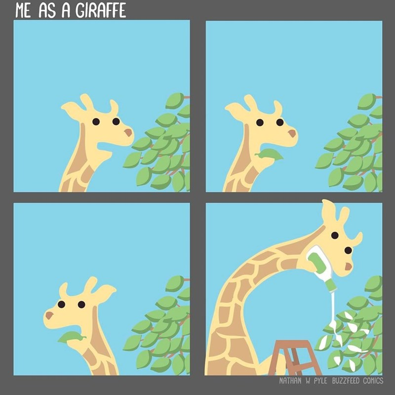 Funny web comic about a giraffe putting ranch dressing on leaves.