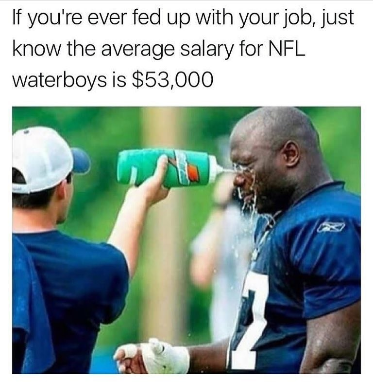 Cricket - If you're ever fed up with your job, just know the average salary for NFL waterboys is $53,000