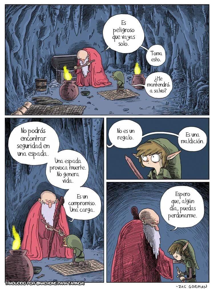 anciano le da una espada a link y le dice responsabilidad