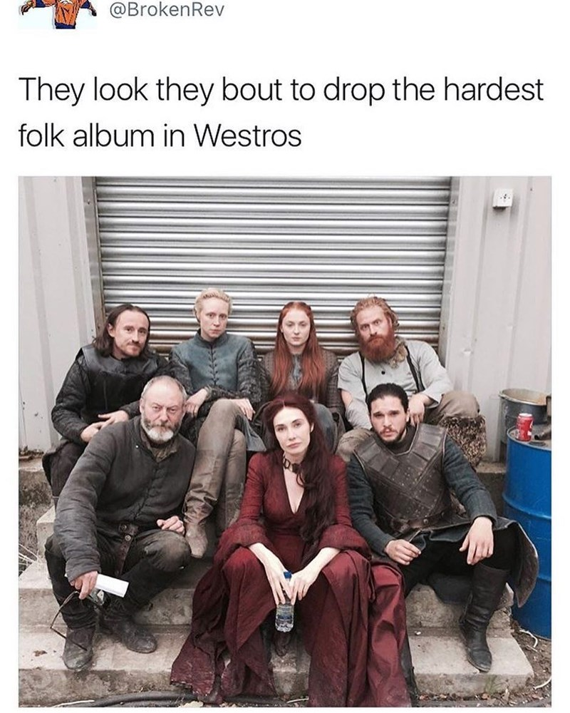 Funny meme about game of thrones characters dropping a folk album.