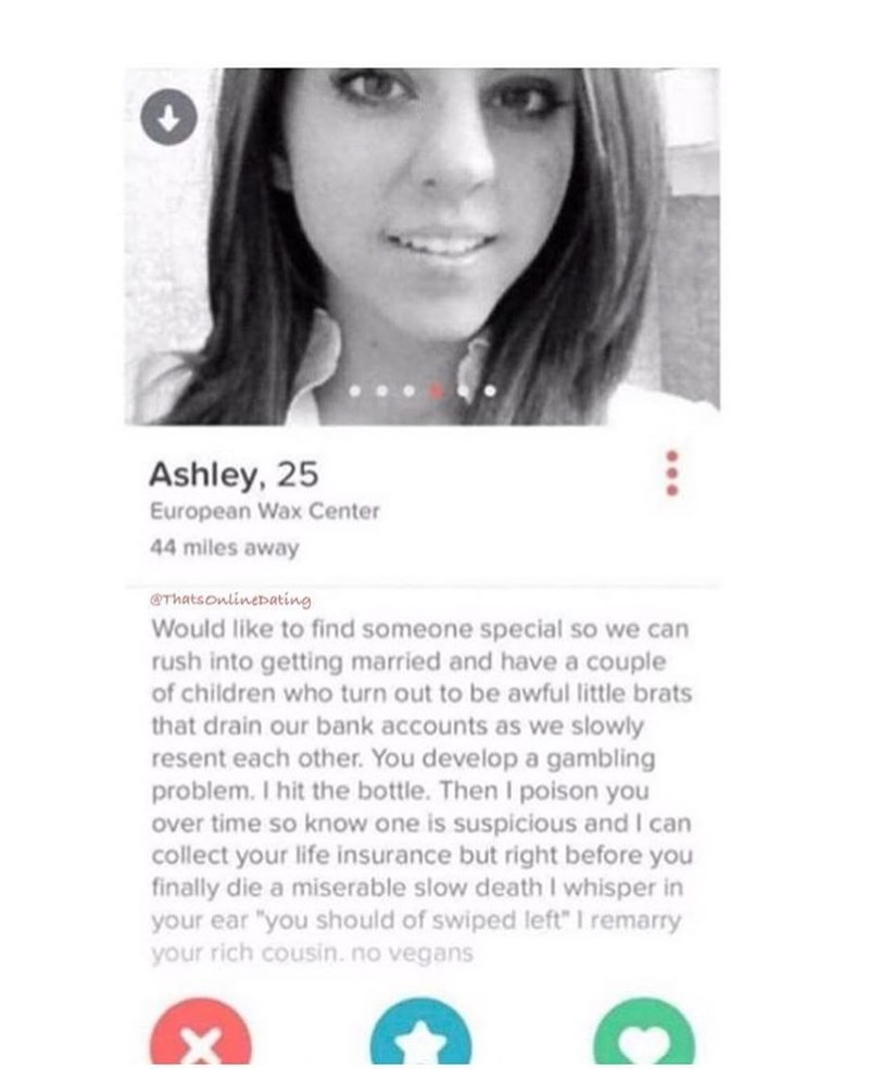 Funny meme about tinder profile involving poisoning someone.