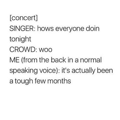 Funny meme about being at a concert, band asks how everyone is doing, person says it's been a rough few months.