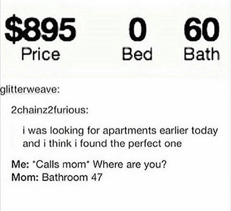 Text - $895 0 60 0 Price Bath Bed glitterweave: 2chainz2furious: i was looking for apartments earlier today and i think i found the perfect one Me: Calls mom* Where are you? Mom: Bathroom 47