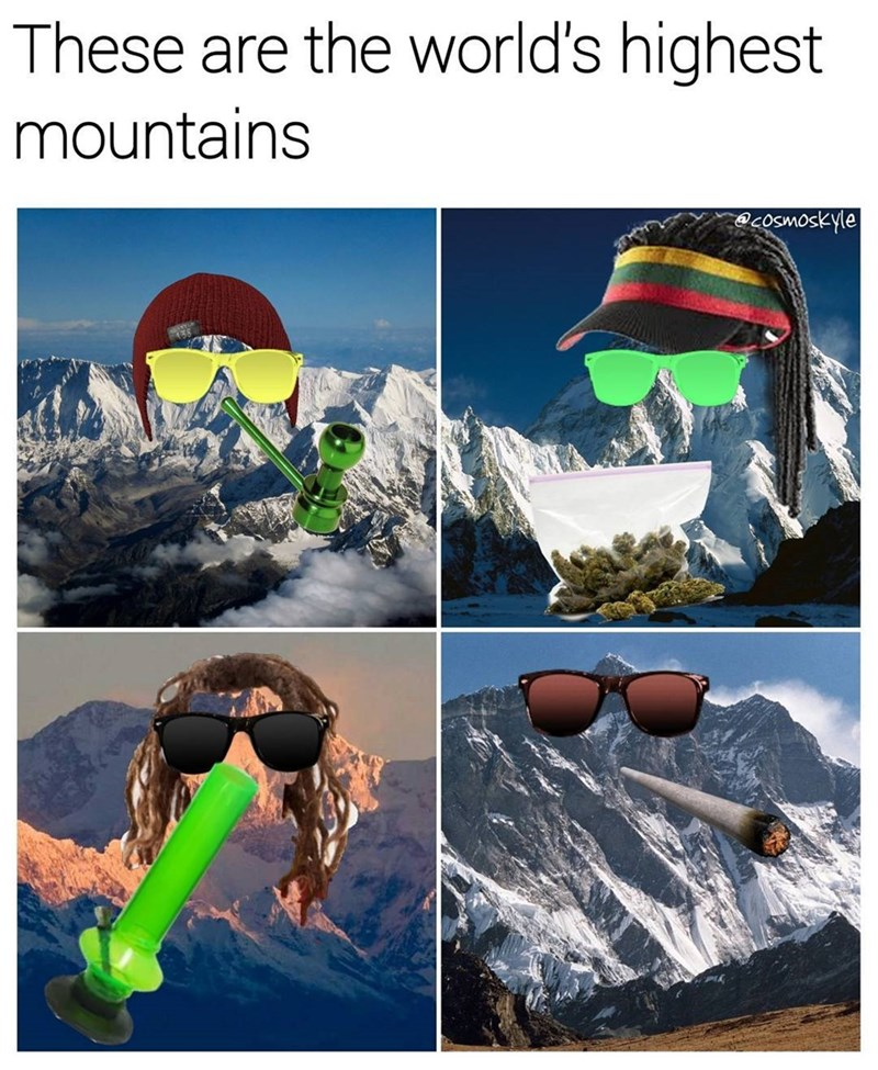 Funny meme about high mountains.