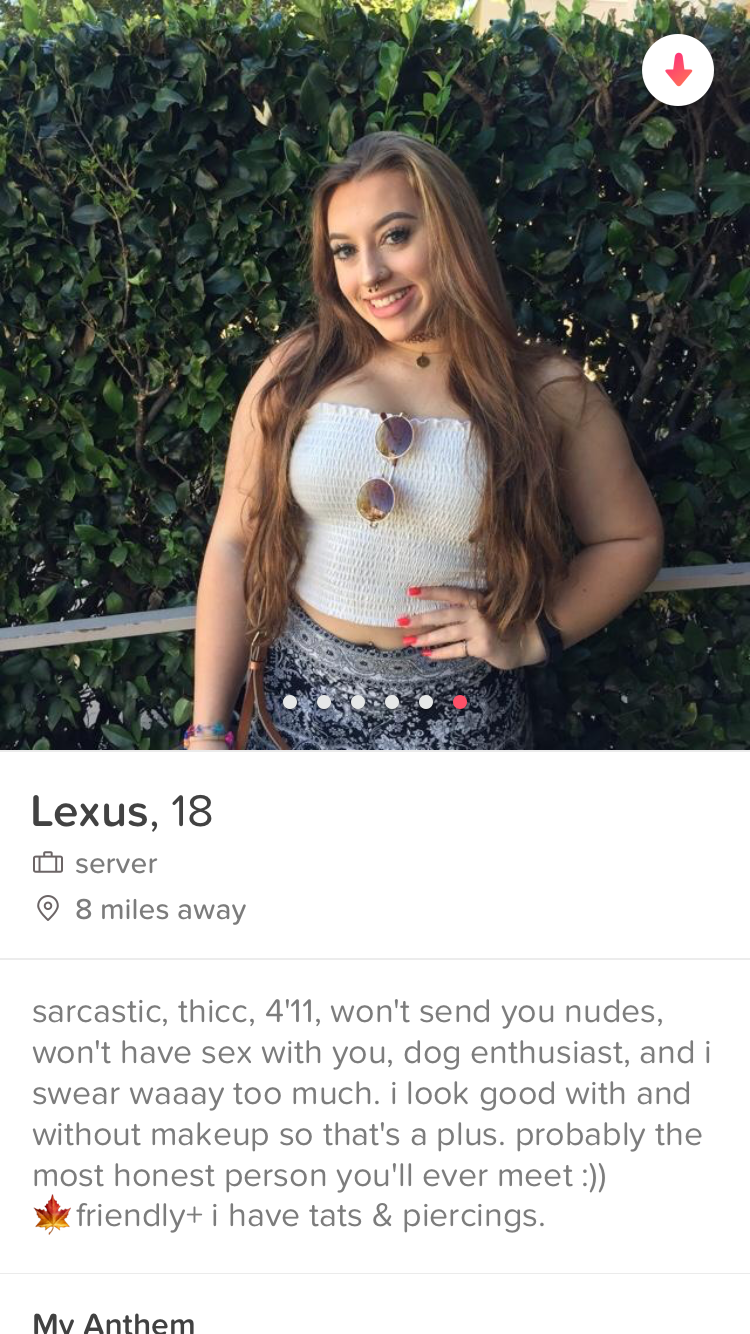 Beauty - Lexus, 18 server 8 miles away sarcastic, thicC, 4'11, won't send you nudes, won't have sex with you, dog enthusiast, and i swear waaay too much. i look good with and without makeup so that's a plus. probably the most honest person you'll ever meet :)) friendly+ i have tats & piercings. My Anthem