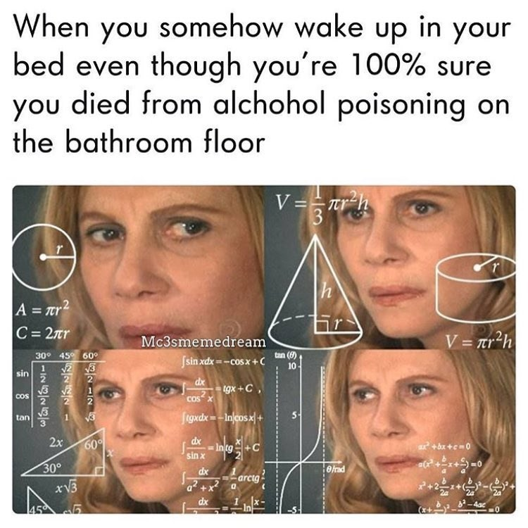 Funny meme about alcohol poisoning.