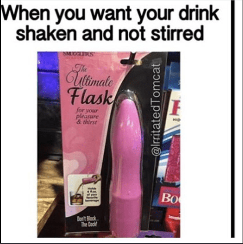 funny weekend meme with pic of a flask shaped like a vibrator
