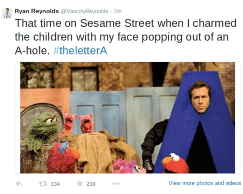 funny meme with pic of Ryan Reynolds on Sesame Street