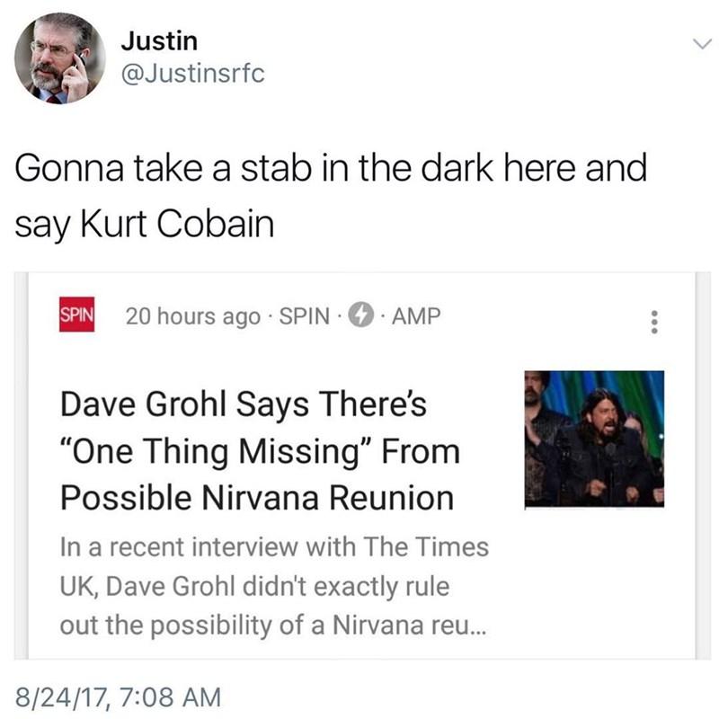 Funny meme about Kurt Cobain.
