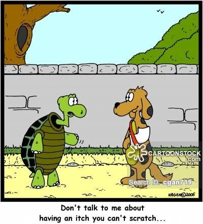 Cartoon - CARTOONSTOCK com AT Search ID cgan719 HRGENO2005 Don't talk to me about having an itch you can't scratch.. HT