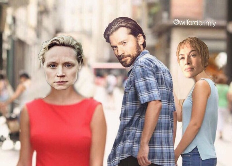 Funny meme about game of thrones with jaime lannister, brienne of tarth and cersei lannister.