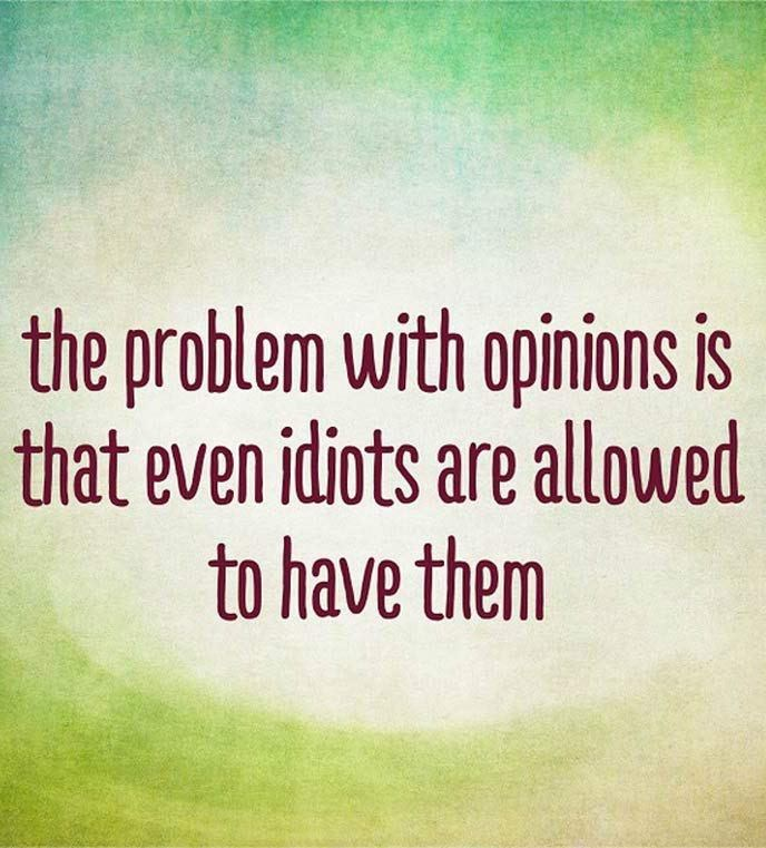 Text - the problem with opinions is that even idiots are allowed to have them