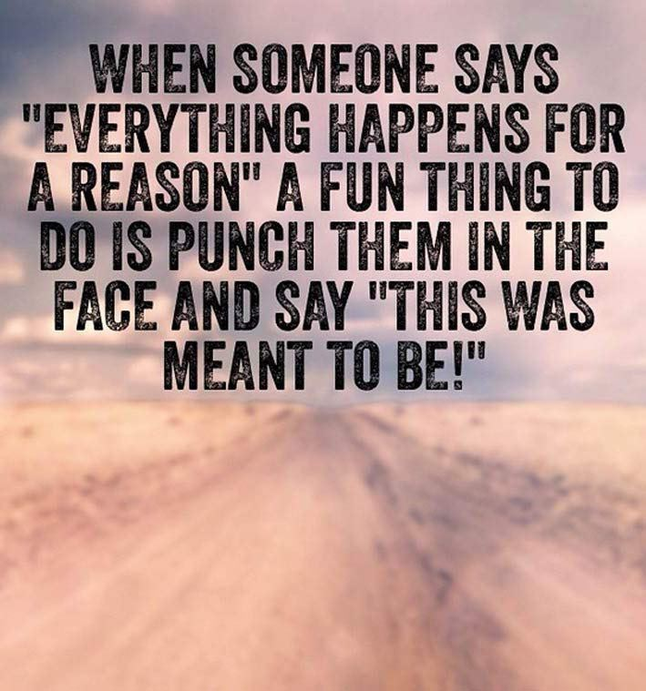 """Text - WHEN SOMEONE SAYS """"EVERYTHING HAPPENS FOR A REASON"""" A FUN THING TO DO IS PUNCH THEM IN THE FACE AND SAY """"THIS WAS MEANT TO BE!"""""""