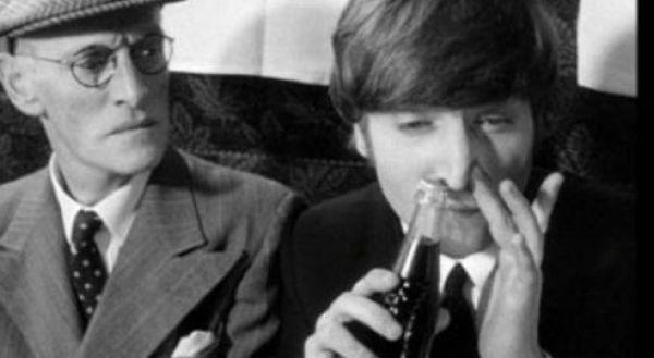Beatles snorting a coke bottle