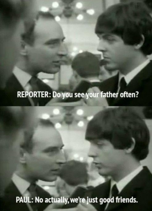 Reporter asking Paul McCartney about how often he sees his father.