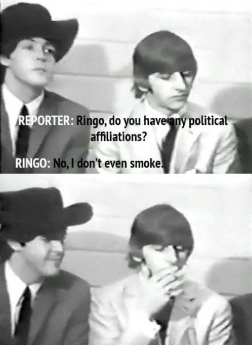 Ringo giving smartass answer about his political affiliations