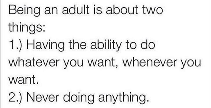 Text - Being an adult is about two things: 1) Having the ability to do whatever you want, whenever you want. 2.) Never doing anything.