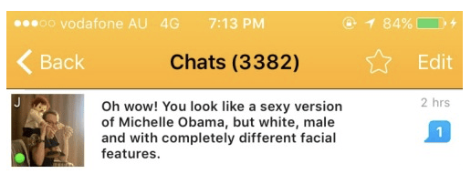 funny chat meme about looking like Michelle Obama
