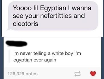 pun - Text - Yoooo lil Egyptian I wanna see your nefertitties and cleotoris im never telling a white boy i'm egyptian ever again 126,329 notes 11