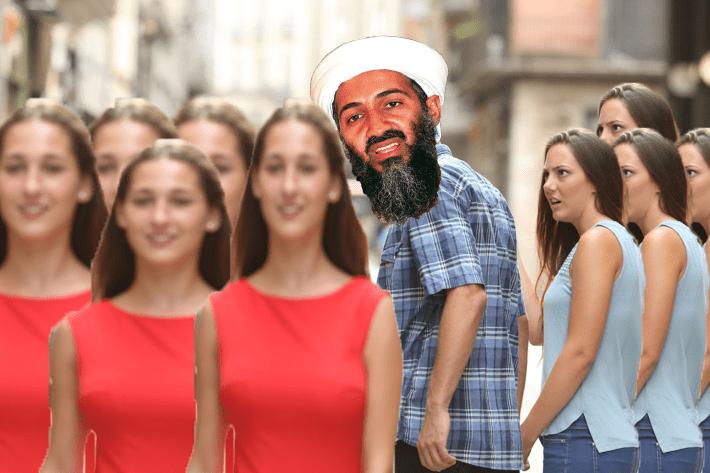 dank meme - People and osama bin laden looking at multiple wives