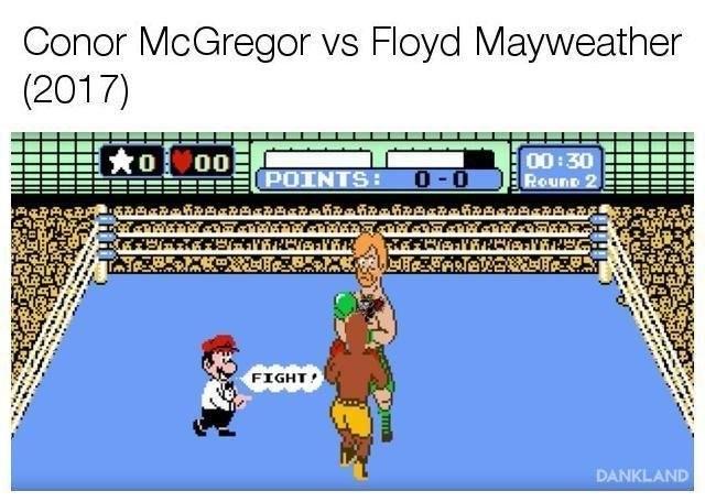 dank meme - Cartoon - Conor McGregor vs Floyd Mayweather (2017) O00 00:30 Rounp 2 0-0 POINTS: FIGHT DANKLAND