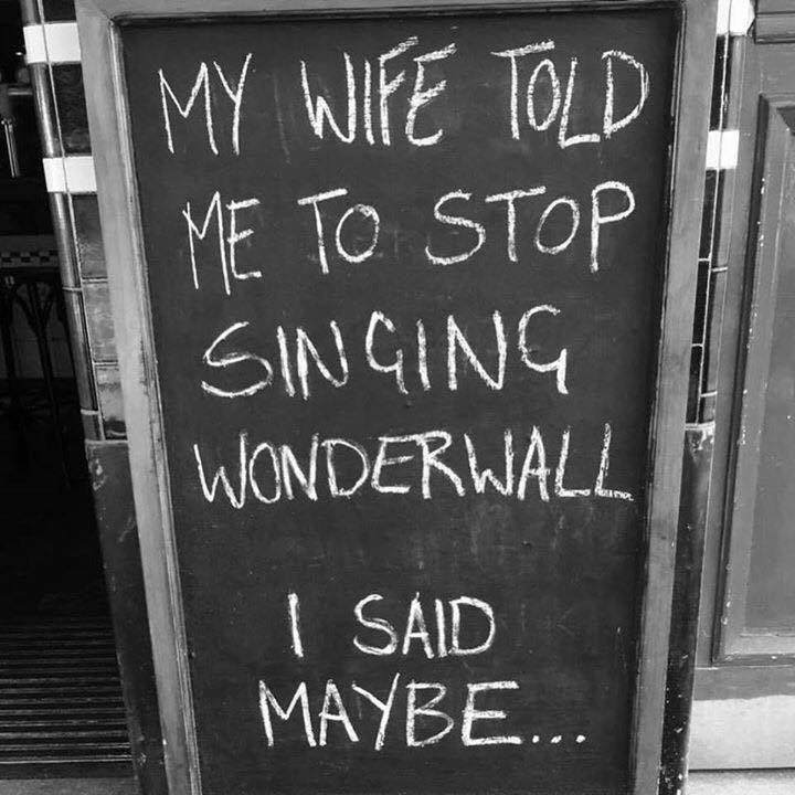 Funny meme about wonderwall by Oasis.