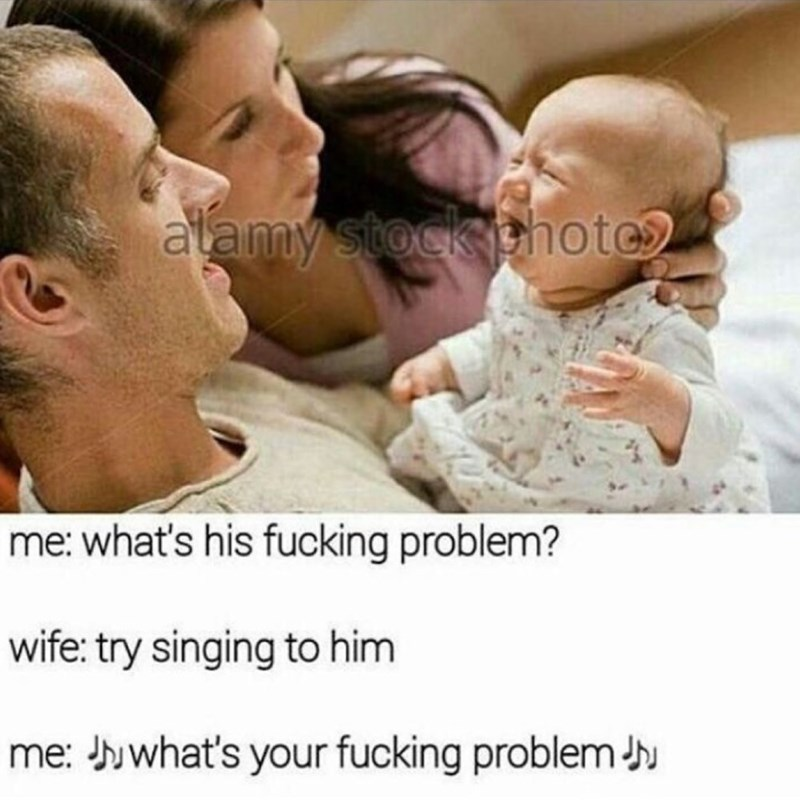 Funny meme about cursing at your baby as a lullaby.