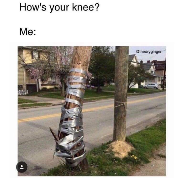Broken wooden electrical pole fixed with duct tape joked to be a busted up knee