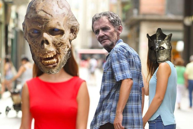 Funny meme about Game Of Thrones, Qyburn is more interested in wight than Ser Robert Strong.
